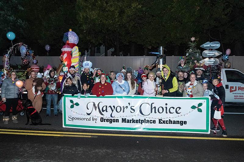 "CJ Hansen wins the ""Mayor's Choice"" award at the Keizer Holiday Lights Parade"