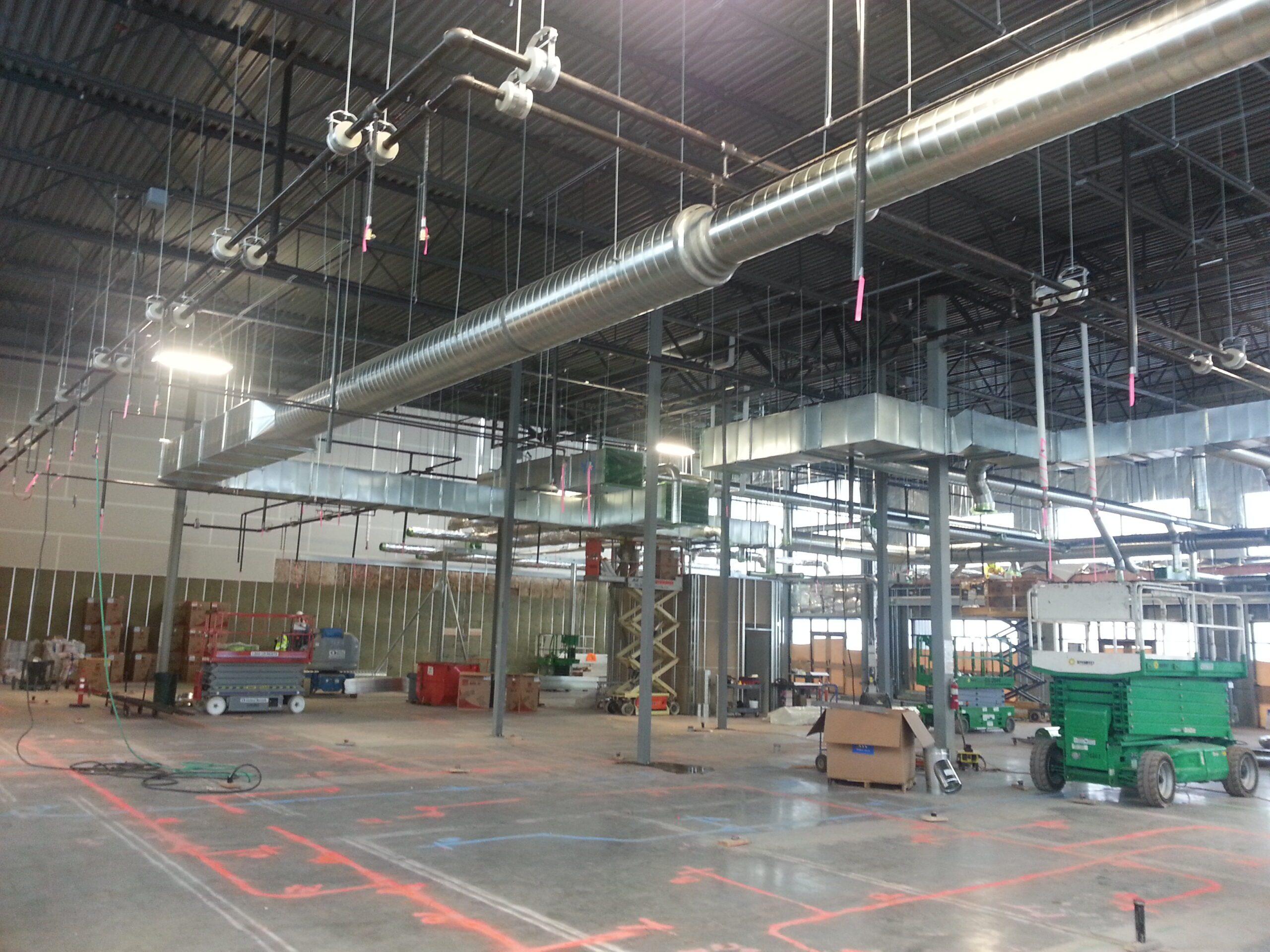 Large warehouse HVAC installation.
