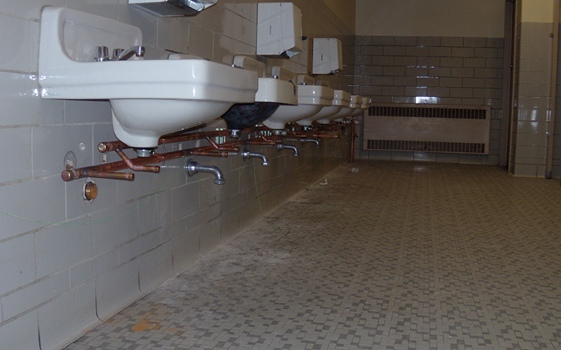 Sinks in a bathroom at Waldo Middle School