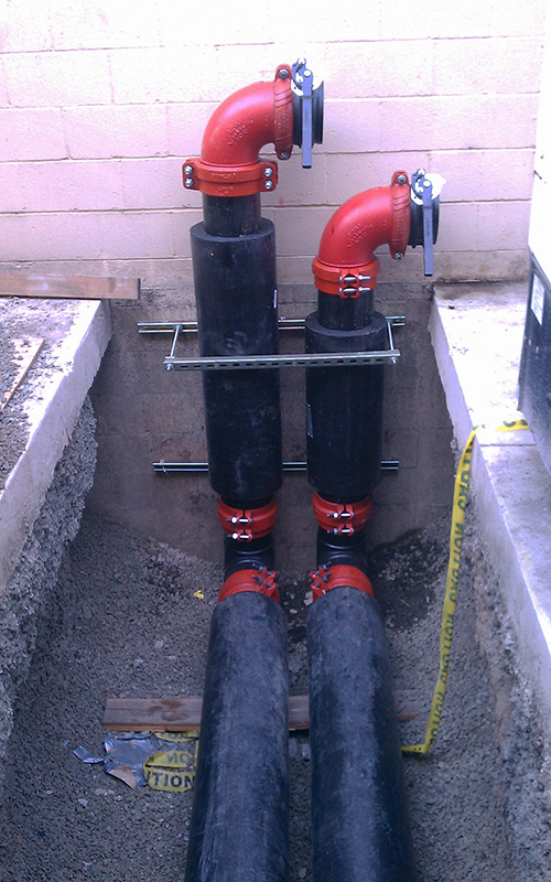 Black and red piping outside.